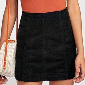 Free People Mini Skirt Cord Modern Femme Black